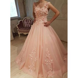 Modern A Line Long Prom Dresses 2019 New Sleeveless Scoop Neck Floor Length Flower Formal Evening Gowns Party Dress on Sale