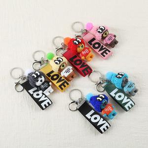 Ribbon Love Keychains Cute Keyring Keychain Holder Fashion Women Girls Men Teddy Bear with Hat Design Pendant Key Chain Ring for Car Keys