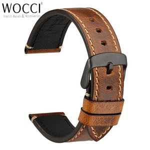 WOCCI 18mm 20mm 22mm 24mm Watch Band, Saddle Style Vintage Leather Watch Strap,Watch Strap On Belt Watchbands Bracelet