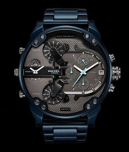 2019 new fashion designer men's watch luxury blue stainless steel with multi-time zone large dial man men mens diesels watches DZ7414 reloj on Sale