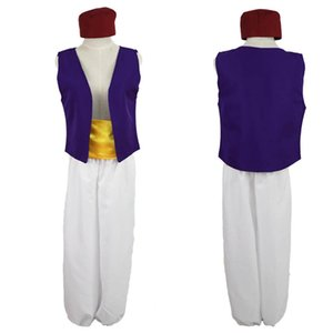 Wholesale Aladdin s lamp Prince Aladdin Cos outfits fashion Men teenager Cosplay Costume cartoon Halloween Makeup party Clothing C6861