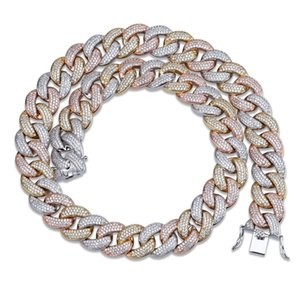 Micro-zircon Necklace High quality hip hop jewelry 8mm three colour Men's Chain in Greater Cuba
