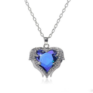 Wholesale Angel wings Gemstone necklaces For women crystal Love Heart shape Pendant Silver chains necklace Fashion Female Jewelry