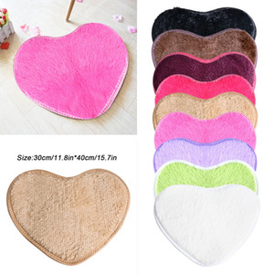 Wholesale Small x40cm Heart shaped Soft Mats Artificial Silk Carpets Cushion For Girls Adults Kids Designer Rugs Bedroom Mats