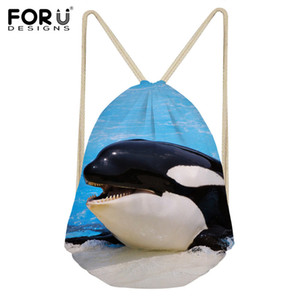 Wholesale FORUDESIGNS Drawstring Bag Cute D Whale Print Kids Casual Backpack Sack Girls Beach Shoes Storage Bag String for Student Child