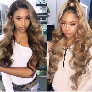 Wholesale Honey Blonde Lace Front Wig Glueless Full Lace Wigs Human Hair Ombre Wig Black Roots B Body Wave Brazilian Virgin Hair