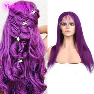 Wholesale red indian human hair lace wig for sale - Group buy Indian Virgin Hair Human Hair Remy Straight Purple X4 Lace Front Wig Pre Plucked Lace Front Wigs inch Yellow Red