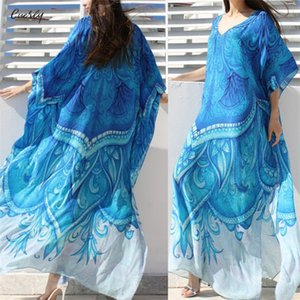 Wholesale Beach Dress Kaftan Bohemian Printed Ocean Plus Size Tunic Women Summer Beachwear Half Sleeve Maxi Dress Robe N669