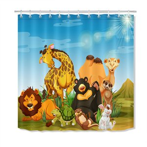Wholesale Lion King Cartoon AnimalsDurable Fabric Mold Proof Bathroom Pendant Creative with Hooks X180CM