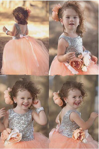 Wholesale dresses for kids resale online - Peach Pink Shiny Sequin Princess pageant Dresses For Your Little Girl Handmade Flower Ball Gown Flower Girls Dresses
