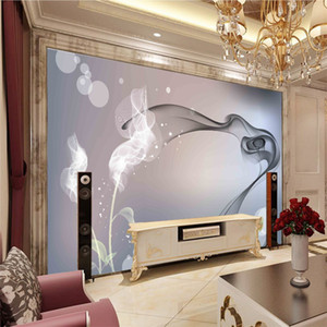 Wholesale hd wallpapers for sale - Group buy New Modern art fantasy smoke abstract floral bedroom wallpaper large d seamless HD moisture proof TV sofa bedroom Background wall decor