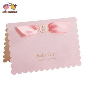 Wholesale Luxury Lovely Baby Boy and Girl Baby Shower Birthday Party Invitation Card