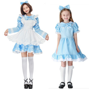 Wholesale Adult Kids Mother Daughter JK Suit Anime Cosplay Costumes Alice In Wonderland Lolita Maid Carnival Clothing Detachable Sleeves