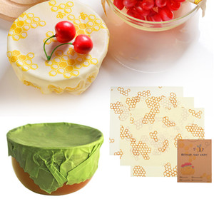 3PCs Beeswax Food Wrap Fresh Cloth Instead Of Cling Film Free Packaging Wrap Reusable Food Grade For Sandwich Snack Fruit Cheese