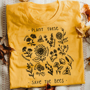 Wholesale Plant These Harajuku Tshirt Women Causal Save The Bees T shirt Cotton Wildflower Graphic Tees Woman Unisex Clothes Drop Shipping Q190508