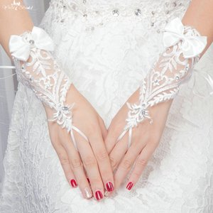 LZP107 Crystal And Sequin Butterfly Lace Wedding Gloves Bruids