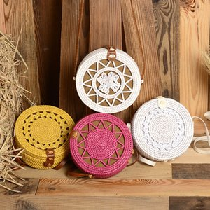 Round Straw Bags Women Summer Rattan Bag Handmade Woven Beach Cross Body Shoulder Bag Circle Bohemia Handbag Bali on Sale