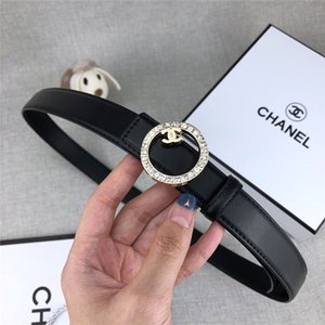 Designer belt brand women's casual belt black coffee belt round white diamond smooth buckle fashion jeans belts width 2.4 cm high quality