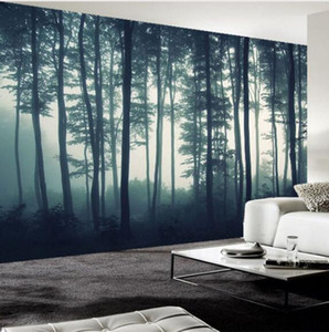 Wholesale sofa paintings trees resale online - Custom Photo Wallpaper D Dense Fog Forest Tree Wall Mural Living Room TV Sofa Bedroom Wall Painting Nature Landscape Wall Paper