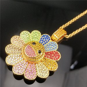 Wholesale Fashion sunflower diamond Zircon Pendant Necklaces for men and women Bearing rotary Pendant Necklace Gold plated Party Jewelry