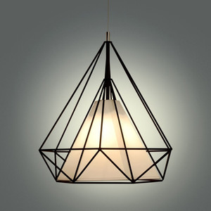 Wholesale scandinavian white pendant lights resale online - birdcage chandeliers Scandinavian modern minimalist art pyramid iron chandelier creative restaurant lights black white cord pendant