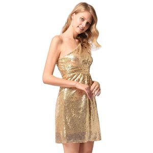 Wholesale Sexy Oblique Shoulder Bridesmaid Toast Casual Dress Sequins Backless Designer Dress Street People Golden A line Women Clothes