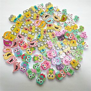 Wholesale 100pcs Mixed Design Animals 2Hole Wooden Buttons for Scrapbooking Crafts DIY Baby Children Clothing Sewing Accessories Button Decoration