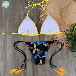 Wholesale Micro Bikini Biquini Sexy Ruffle Swimwear Women Halter Push Up Brazilian Yellow Bikini Swimsuit Bandage Bathing Suit