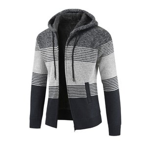 Wholesale Mens Winter Cardigan Slim Striped Sweater Blouse Tops Men's Casual Autumn Winter Zipper Fleece Hoodie Outwear Coat
