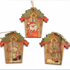Wholesale craft house resale online - Christmas Wooden Pendants Xmas Tree Ornaments Mini House DIY Wood Crafts Wedding Christmas Party Decoration Kids Gift