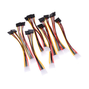 Wholesale 10pcs Cable Computer Cable Pin IDE Power Splitter Male to Female ATA SATA Power Cable Y Splitter Hard Drive Power Supply