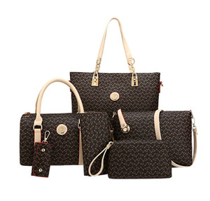Handbags 6 PCS Composite Bag High Quality PU Leather Fashion Sweet Ladies Shoulder Bags Black Colors Set Bags on Sale