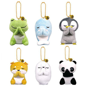 New 6 styles 8cm plush toy Creative Doll Frog Panda Penguin Doll stuffed animals Wishing plush toys Pendant Key Chain Kids Toys