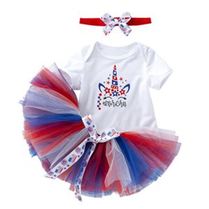 Wholesale Baby Jumpsuit Clothing Sets Letter Lace Mesh Tutu Dress Unicorn Pattern Set American Flag Independence National Day Elastic Bow Headbands