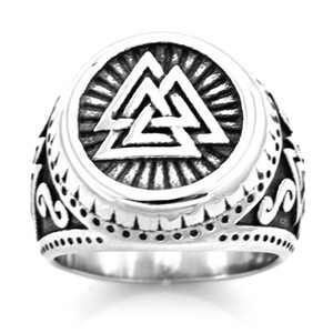 Wholesale celtic knot band ring resale online - FANSSTEEL STAINLESS STEEL punk vintage mens womens JEWELRY volknot knot of slain Celtic Geometrical Triangle Tribal Letters Ring FSR20W73