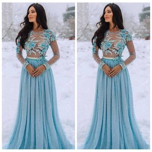 Wholesale evning dresses resale online - 2020 Sheer Long Sleeves Pearls Beaded Lace Appliques Prom Dresses With D Flowers Adorned Women Evning Party Gowns Plus Size Vestidos