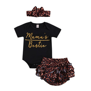 Wholesale Baby Girls Clothing Sets Rompers Leopard Headband Letter Print Button Newborn Infant Jumpsuit Playsuit Summer T