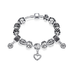 Wholesale Pandora Generous Bracelet S925 Silver Plated Heart Tin Alloy Charm Bracelet Accessories Romantic For Ladies Thanksgiving Day Gifts POTALA023