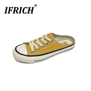 Wholesale New Cool Men Walking Canvas Shoes Half Drag Casual Shoes Boy Yellow White Canvas Flats Fashion Young Half slippers