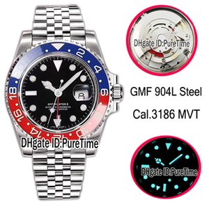 Wholesale GMF V2 L Steel Cal Automatic GMT Blue Red Ceramic Bezel BLR Black Dial Mens Watch Jubilee Bracelet Correct Hand Stack Puretime