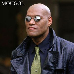 MOUGOL Matrix Morpheus Round Rimless Sunglasses Men Classic Clamp Nose Sun Glasses Mens Mini Frameless Brand Design Glasses