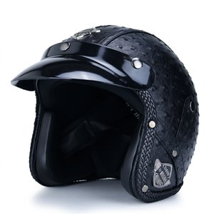 Wholesale half scooter open face motorcycle for sale - Group buy Motorcycle open face retro helmet PU leather Casque Casco half jet scooter punk cafe DOT approved