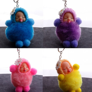 Wholesale 6 Styles Cute Sleeping Baby Keychain Women Wallet Keyrings Keychains Fur Ball Plush Car Keychain Doll Plush Girls Bag Pendant Free DHL M204Y