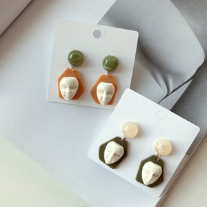 Women Acrylic Resin Mask Stud Earring Head Portrait Earring for Party Nightclub Fashion Jewelry Epacket Shipping