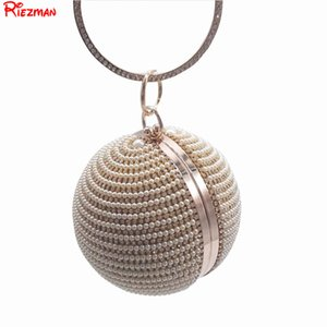 Wholesale New Arrival Women Evening Clutch Bags Full Crystal Diamonds Round Shaped Clutches Lady Handbags Wedding Purse Chain Shoulder Bag