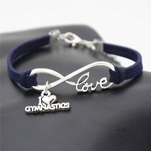 Wholesale Dark Navy Leather Suede Bracelets For Women Men Wrap Infinity Love I Heart Gymnastics Sports Team Friendship Antique Charm Bangles pulseira