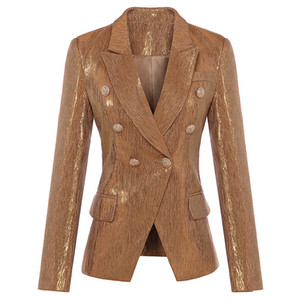 New Fashion Fall Winter Designer Blazer Women's Lion Metal Buttons Double Breasted Blazer Jacket Outer Coat Gold