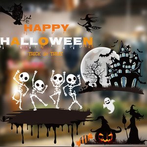 Wholesale 2pcs Halloween Window Sticker Pumpkin Skull Bat Glass Door Sticker Bar Hotel Mall Living Room Wall Sticker Decal Home Decoration DBC VT0968