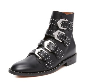 Rivet flat boots woman with thick retro single female Martin boots classic British short canister boots and female boot tide