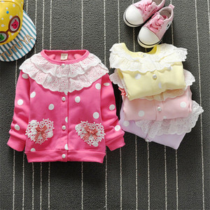Wholesale Bibicola baby girls tops parka kids clothes coat cute flower baby autumn spring autumn jacket cartoon cotton baby girls outwear